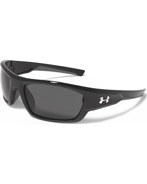 Under Armour Men's Shiny Black UA Force Sunglasses , Black, hi-res