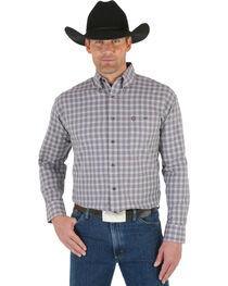 Wrangler George Strait Men's White Wine Plaid Shirt, , hi-res