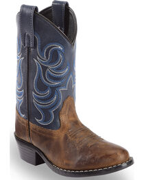 Cody James Boys' Two-Tone Embroidered Western Boots - Round Toe, , hi-res