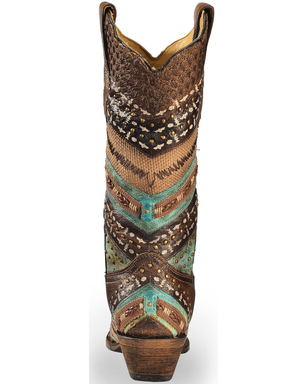 Corral Women's Embroidery and Studs Snip Toe Western Boots, Brown, hi-res