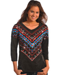 Rock & Roll Cowgirl Women's Black Embellished Front Top , Black, hi-res
