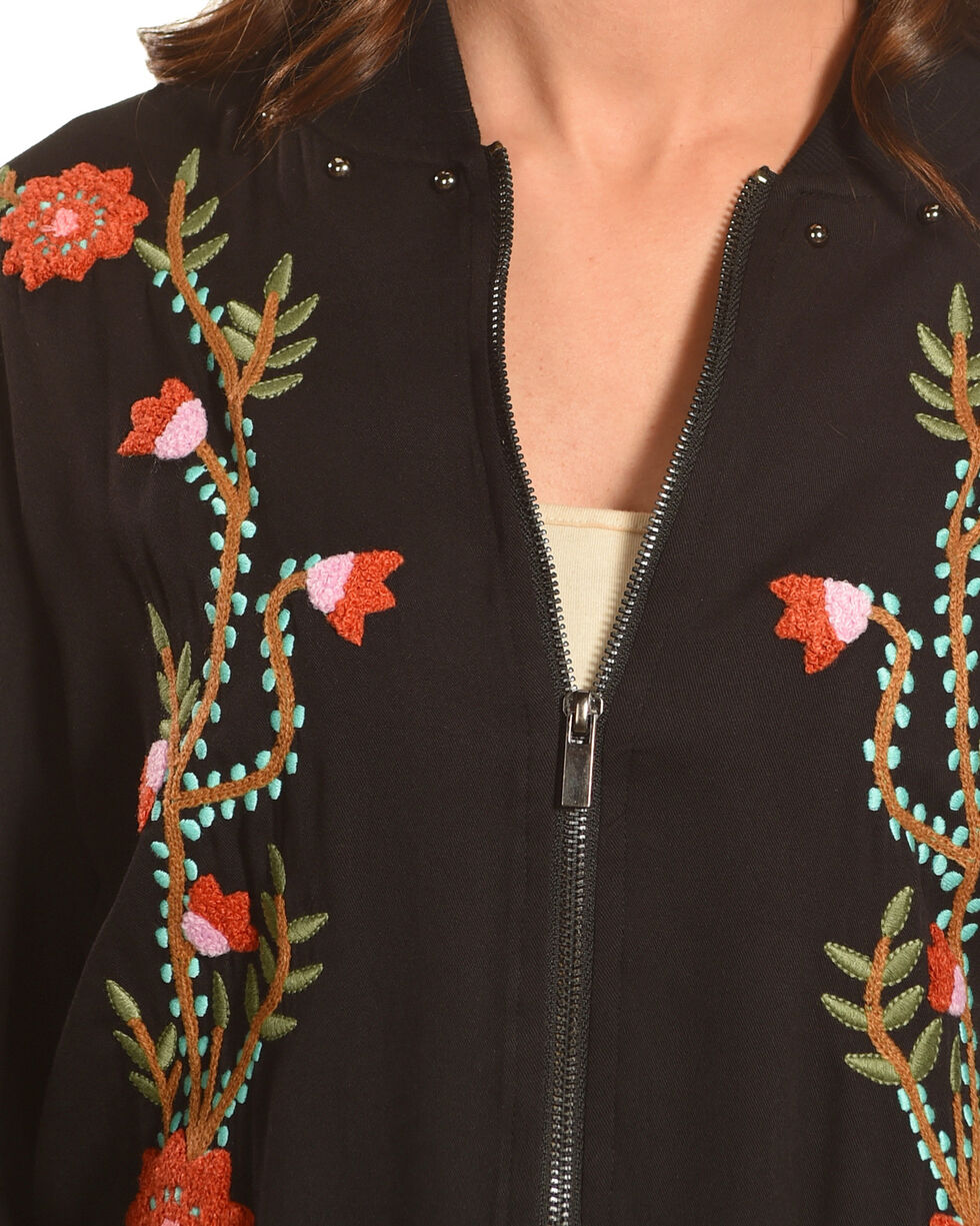 Angel Premium Women's Flora Embroidered Bomber Jacket, Black, hi-res