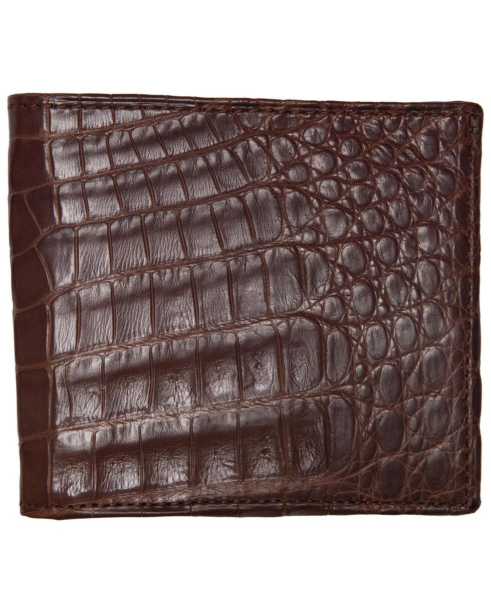 Lucchese Men's Sienna Crocodile Hipster Wallet, Brown, hi-res