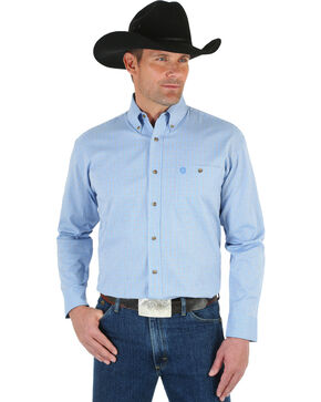 Wrangler Men's Blue George Strait Ombre Print Shirt - Big, Blue, hi-res