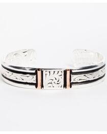 Montana Silversmiths Women's Silver Rose Gold Bars Cuff Bracelet, , hi-res