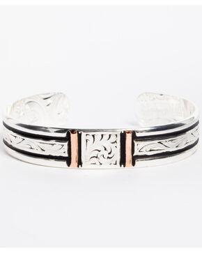 Montana Silversmiths Women's Silver Rose Gold Bars Cuff Bracelet, Silver, hi-res