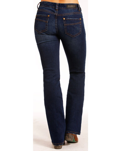 Rock & Roll Cowgirl Women's Indigo Dark Wash Jeans - Boot Cut , Indigo, hi-res