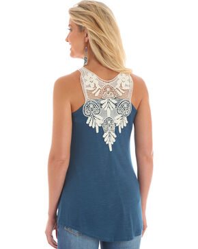 Wrangler Women's Blue Crochet Trim Sleeveless Top , Blue, hi-res