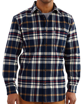 Carhartt Men's Hubbard Classic Plaid Shirt, Navy, hi-res