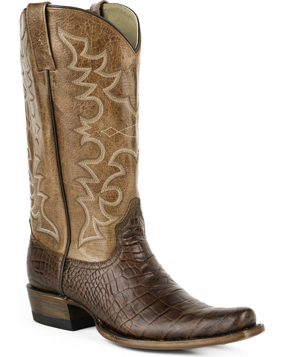 Roper Croc Print Cowboy Boots - Narrow Square Toe, Brown, hi-res