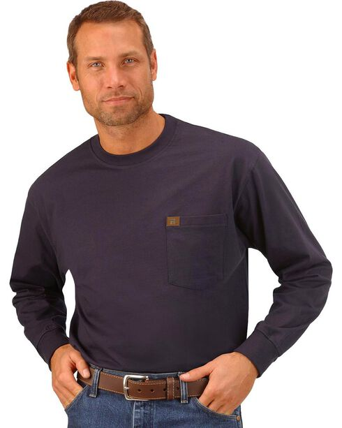 Riggs Workwear Men's Long Sleeve Pocket T-Shirt, Navy, hi-res