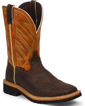 Justin Men's Steel Toe Work Boots, Chestnut, hi-res