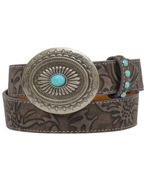 Angel Ranch Women's Brown Floral Turquoise Stud Buckle Belt, Brown, hi-res