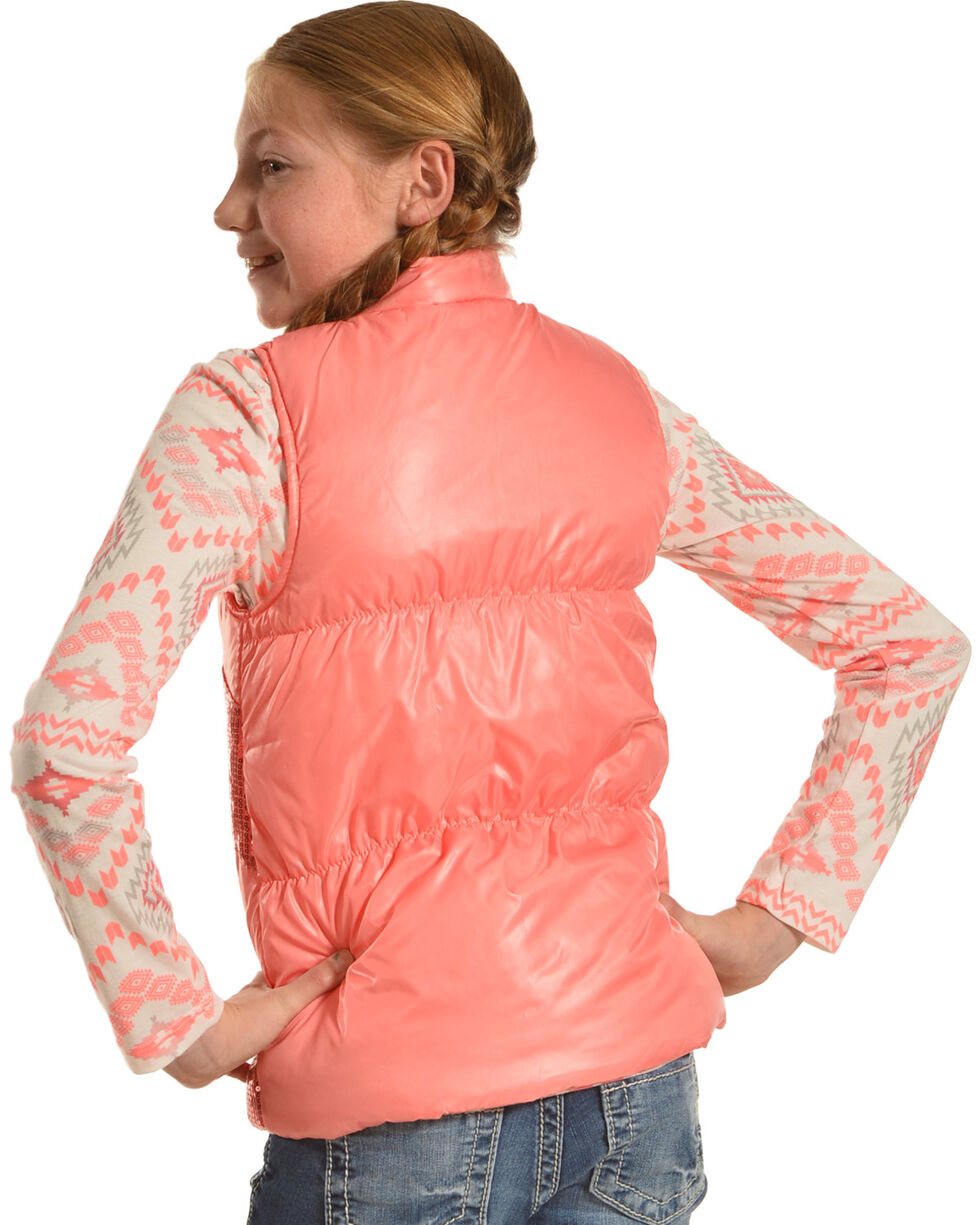 Shyanne Girls' Aztec T-Shirt and Sequin Vest Set, , hi-res