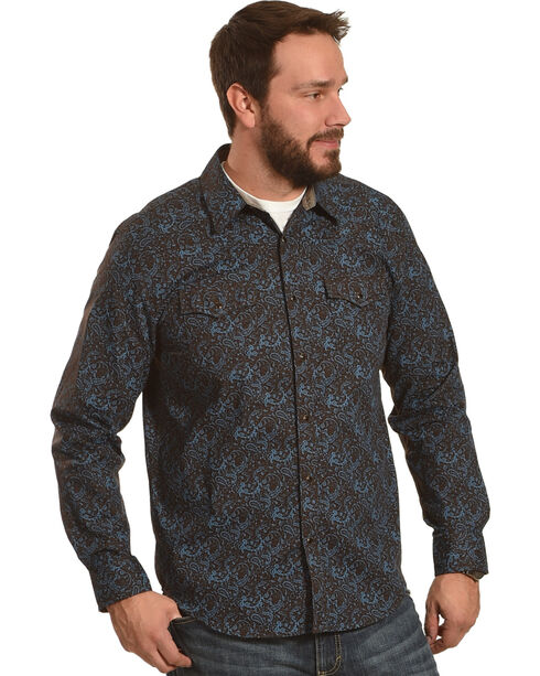Cody James Men's Desert Willow Paisley Long Sleeve Shirt, Brown, hi-res