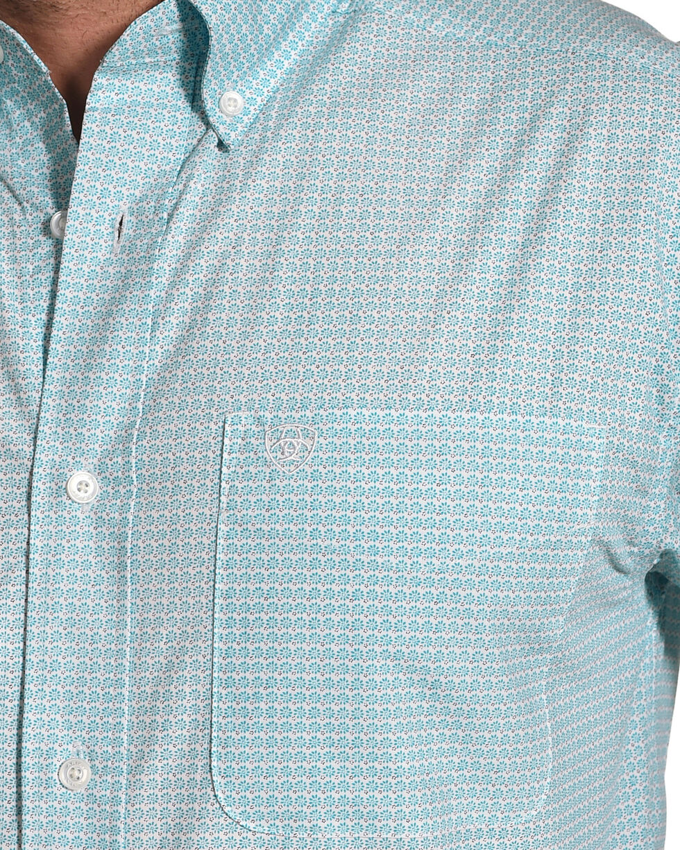 Ariat Men's Casual Series Newman Print Short Sleeve Button Down Shirt, Turquoise, hi-res
