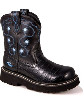 Roper Kid's Chunk Faux Leather Boots, Black, hi-res