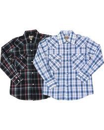 Ely Cattleman Boys' Assorted Plaid Long Sleeve Snap Western Shirt, , hi-res
