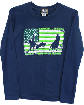 Cowboy Hardware Boys' Team Roper Long Sleeve Tee, Indigo, hi-res