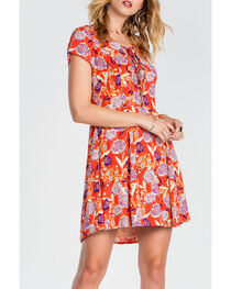 Miss Me Women's Red Lace Up Floral Dress, , hi-res