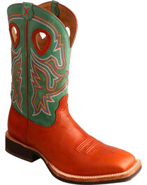 Twisted X Neon Green Horseman Cowboy Boots - Square Toe , , hi-res