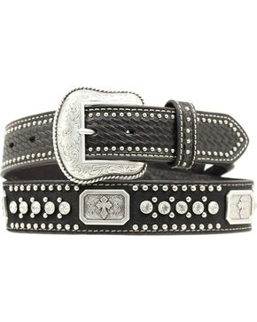 Nocona Rectangle Concho & Rhinestone Belt, Black, hi-res