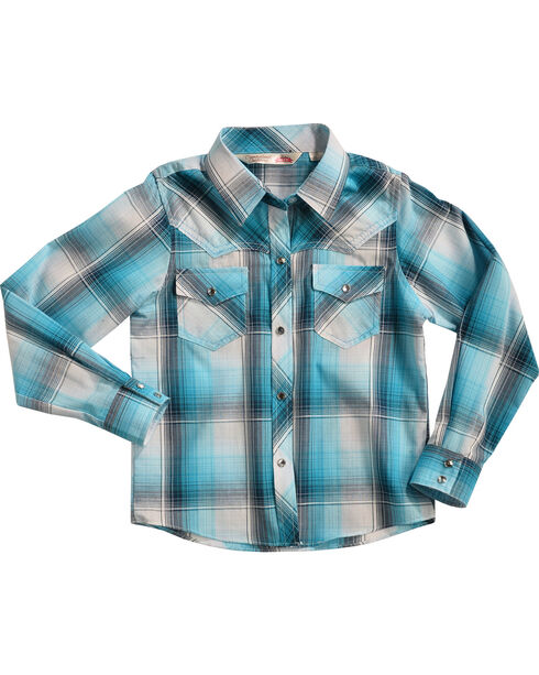 Cumberland Outfitters Girls' Turquoise Plaid Shirt , , hi-res