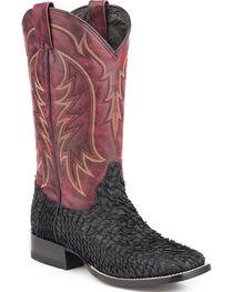 Stetson Men's Black Huachinango Fish Cowboy Boots - Square Toe , , hi-res