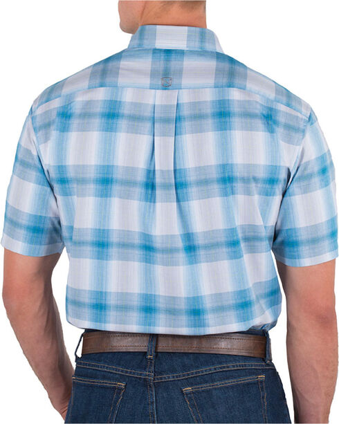 Noble Outfitters' Men's Large Plaid Button Down Short Sleeve Shirt, Blue, hi-res