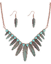 Shyanne® Women's Turquoise Feather Jewelry Set, , hi-res