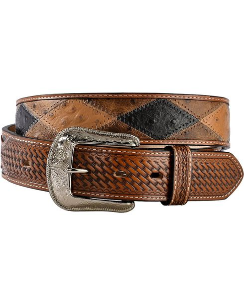 Tony Lama Men's Ostrich Patchwork Belt, Multi, hi-res