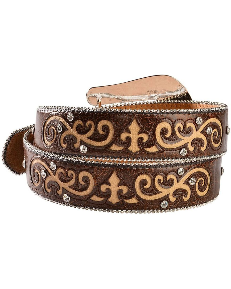Nocona Rhinestone Embellished & Studded Belt, Brown, hi-res