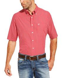 Ariat Men's Red Irving Short Sleeve Shirt , , hi-res