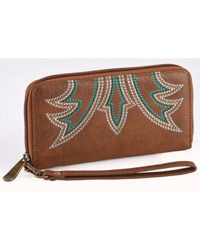 Justin Women's Signature Stitch Wallet , Brown, hi-res