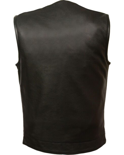 Milwaukee Leather Men's Black Collarless Club Vest - Big 3X, Black, hi-res