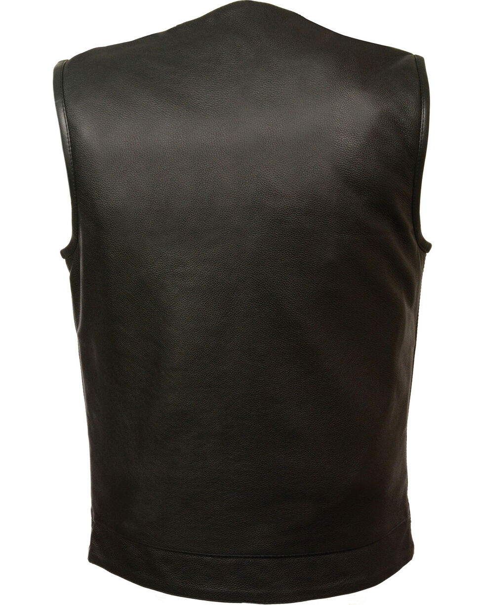Milwaukee Leather Men's Black Collarless Club Vest - Big 4X, Black, hi-res