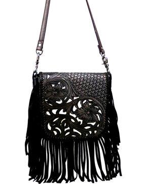 Montana West Women's Genuine Leather Tooled with Fringe Crossbody Bag, Black, hi-res