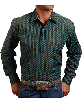 Stetson Men's Vintage Leaf Print Long Sleeve Shirt, Hunter Green, hi-res