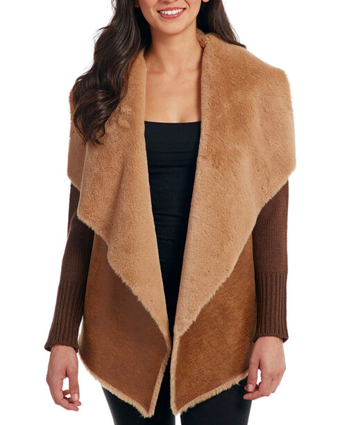 Cripple Creek Women's Knit & Faux Shearling Jacket, Tan, hi-res