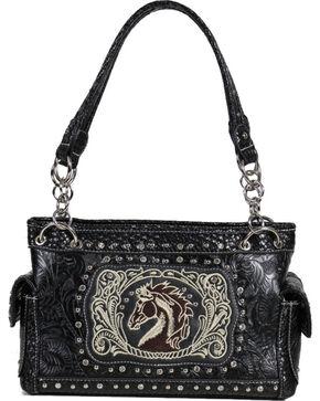 Savana Women's Horse and Floral Embossed Handbag, Black, hi-res