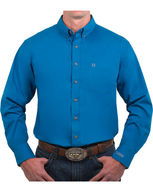 Noble Outfitters' Men's Solid Button Down Long Sleeve Shirt, Blue, hi-res