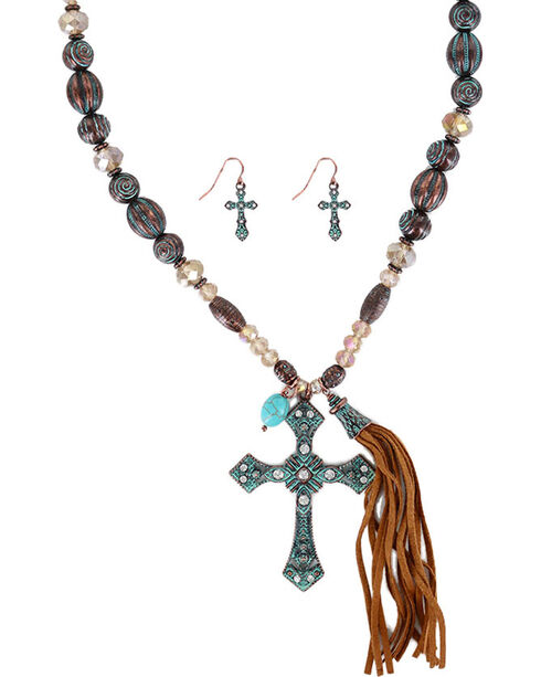 Shyanne® Women's Antiqued Cross Jewelry Set, Turquoise, hi-res