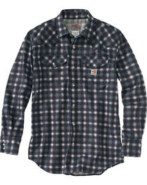 Carhartt Men's Plaid Grey Flame-Resistant Snap-Front Shirt - Tall , , hi-res