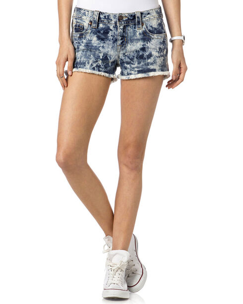 Miss Me Women's Do or Dye Mid-Rise Shorts, Indigo, hi-res