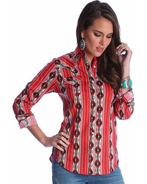 Wrangler Women's Red Checotah Pattern Western Shirt , Red, hi-res