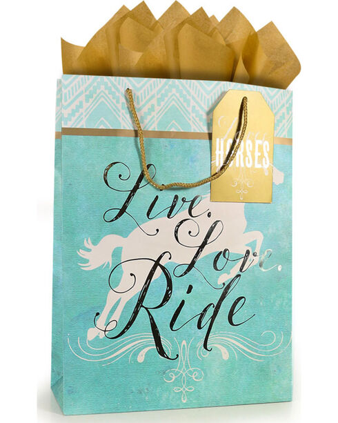 BB Ranch® Live, Love, Ride Large Gift Bag with Tissue Paper, No Color, hi-res