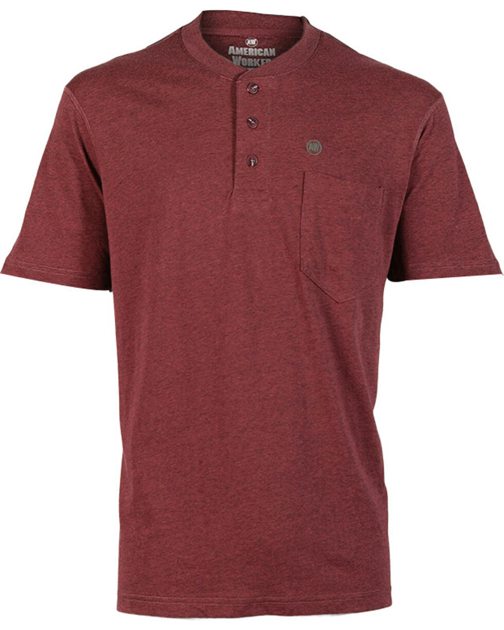 American Worker Men's Short Sleeve Henley, Red, hi-res