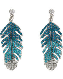 Shyanne® Women's Rhinestone Feather Earrings, , hi-res