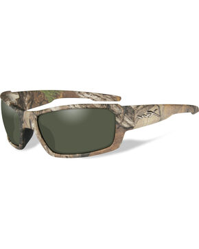 Wiley X Rebel Polarized Green Realtree Xtra Camo Sunglasses , Camouflage, hi-res