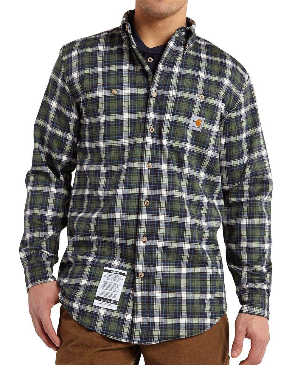 Carhartt Flame Resistant Classic Plaid Shirt, Moss, hi-res